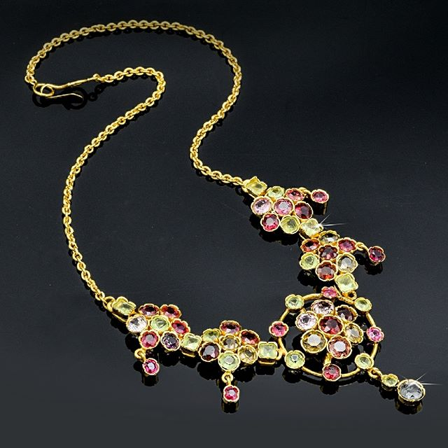 Vintage 22K Yellow Gold Multi-Stone Floral Statement Necklace