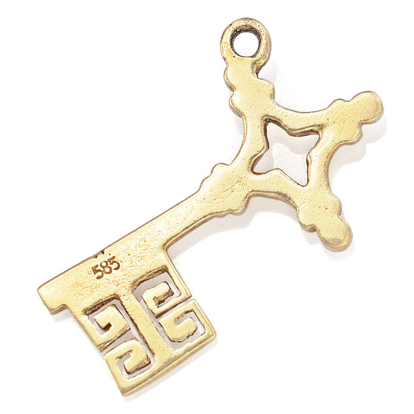 Vintage 14K Yellow Gold Key Charm Pendant