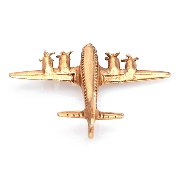 Vintage 14K Yellow Gold Airplane Charm Pendant
