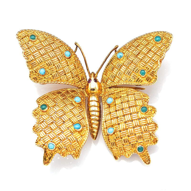 Vintage 18K Yellow Gold Turquoise & Ruby Butterfly Brooch Pin Pendant