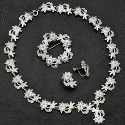 Vintage Sterling Silver Marcasite Floral Necklace, Earrings & Brooch Pin Set