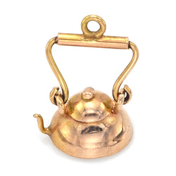 Vintage 18K Yellow Gold Tea Pot Kettle Charm Pendant