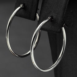 Vintage 10K White Gold 1.5 mm Hoop Earrings