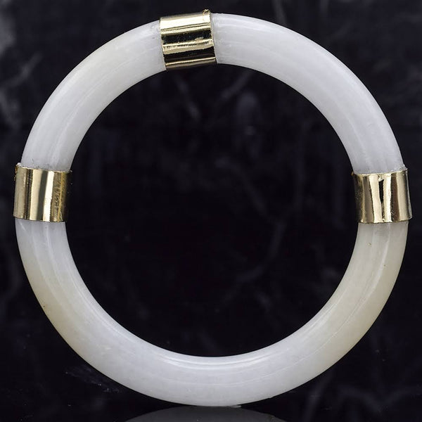 Vintage 14K Yellow Gold Translucent White Jade Bangle Bracelet
