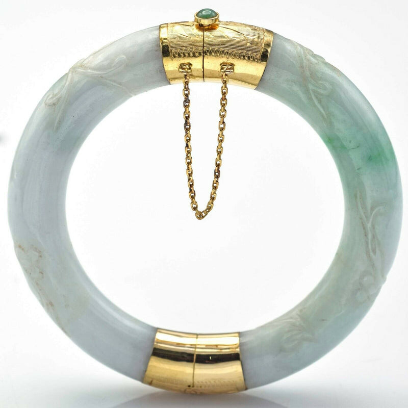 Vintage 14K Yellow Gold Carved Green Jade Hinged Bangle Bracelet