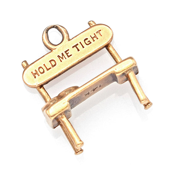 "Vintage 14K Yellow Gold ""Hold Me Tight"" Lover's Bench Charm Pendant"