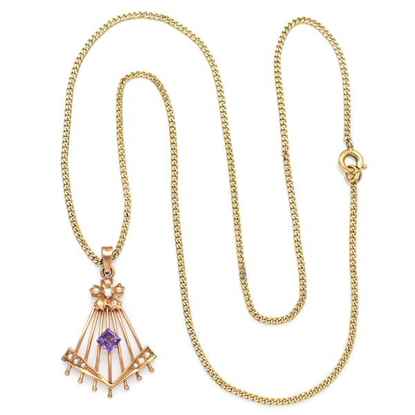 Antique 10K Yellow Gold Amethyst & Sea Pearl Pendant Necklace