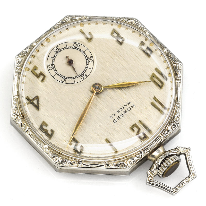 Antique 1921 Howard 14K White Gold 17 Jewels Size 10 Pocket Watch