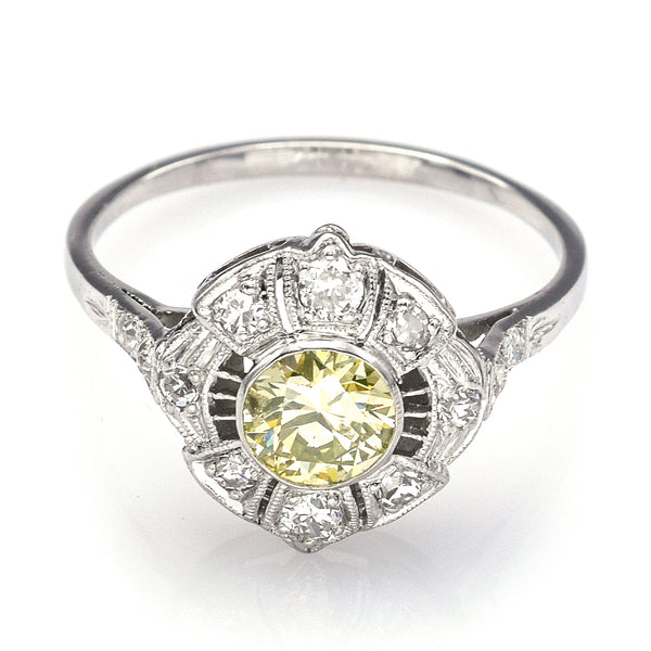 GIA Certified Platinum 0.55 Ct Fancy Light Greenish Yellow Diamond Band Ring