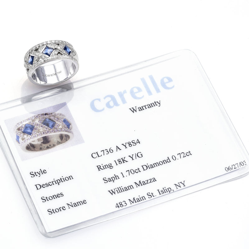 Carelle 18K Gold 1.70TCW Sapphire & 0.72TCW Diamond Band Ring with Card 13.5G