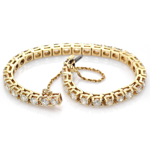 Vintage 14K Yellow Gold 10.08 TCW Diamond Tennis Bracelet