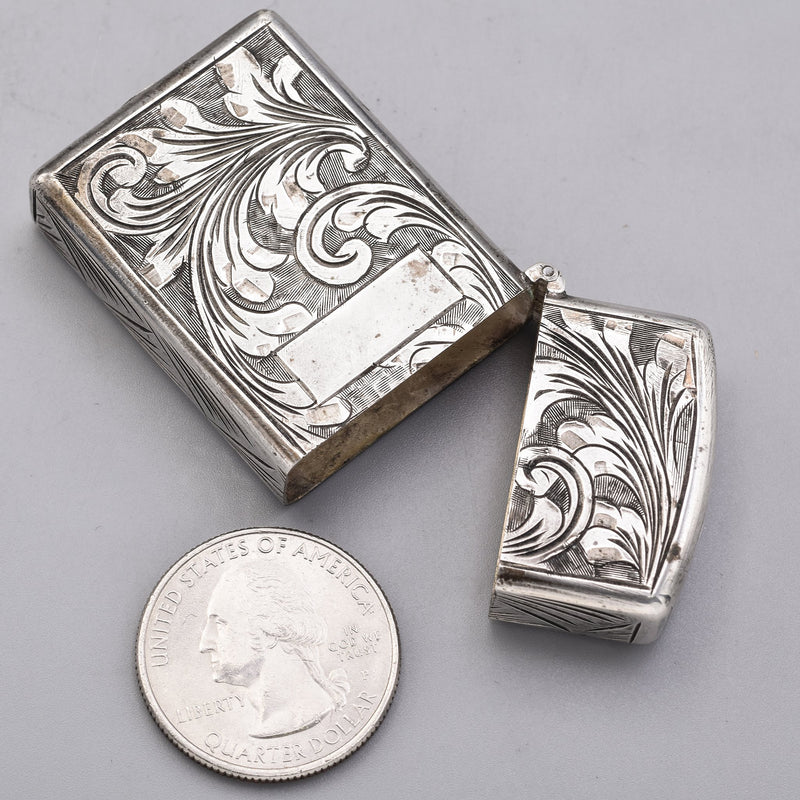 Vintage Peruzzi Florence 800 Silver Floral Etched Match Lighter Case Box