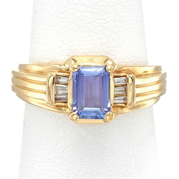 Vintage 14K Yellow Gold Tanzanite & Diamond Band Ring