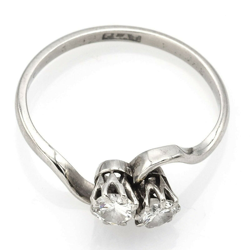 Antique Platinum Two-Stone Diamond Band Ring