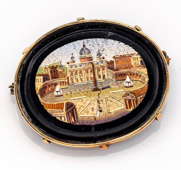 Antique Victorian 14K Gold Onyx St Peter's Square Micro Mosaic Brooch Pin