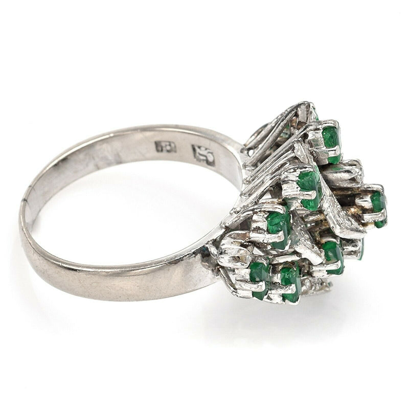 Vintage 8K White Gold Emerald & Diamond Geometric Cluster Band Ring
