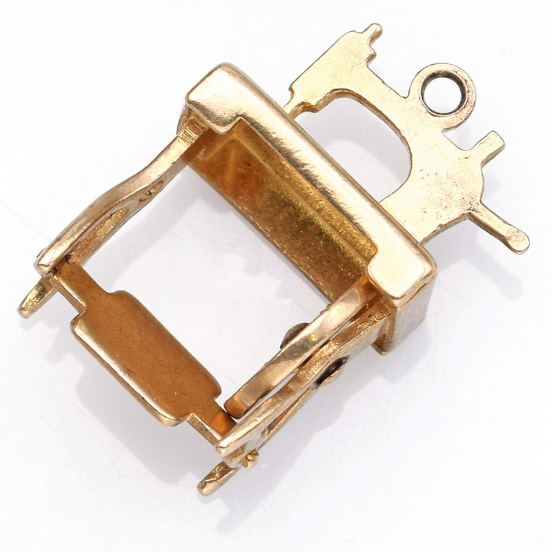 Vintage 14K Yellow Gold Treadle Sewing Machine Charm Pendant