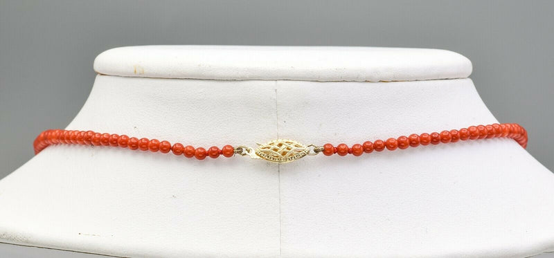 Estate 14K Yellow Gold Red Coral Beaded Strand Necklace