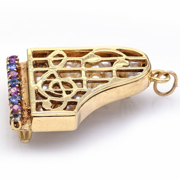 Vintage 14K Yellow Gold Sapphire, Ruby & Pearl Piano Charm Pendant