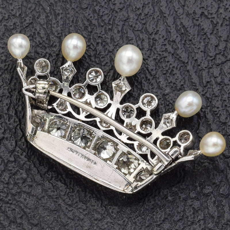 Antique Platinum Old Euro Diamond & Sea Pearl Crown Brooch Pin