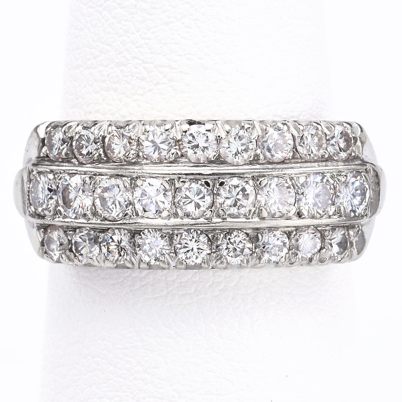 Vintage 14K White Gold 1.34 TCW Diamond Band Ring