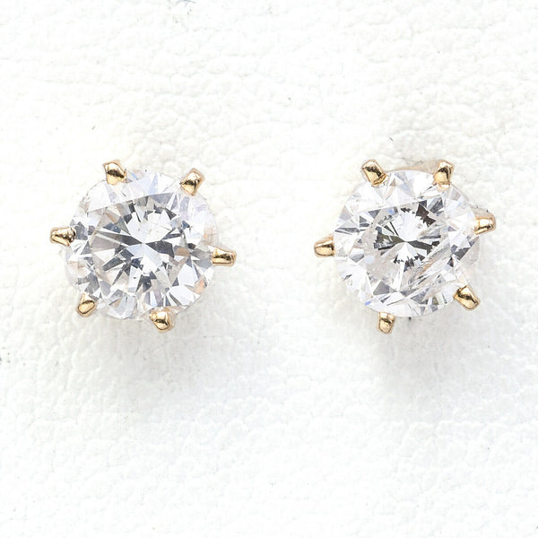 Vintage 14K Yellow Gold 1.12 TCW Diamond Round Solitaire Stud Earrings G/H