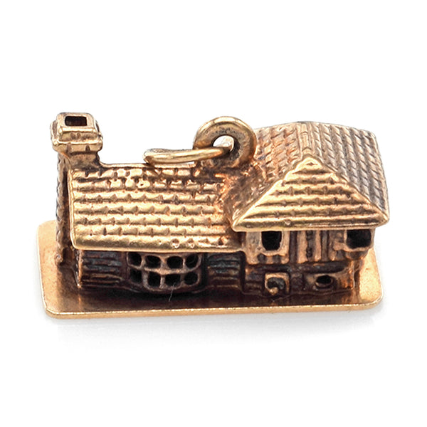 Vintage 14K Yellow Gold House Charm Pendant