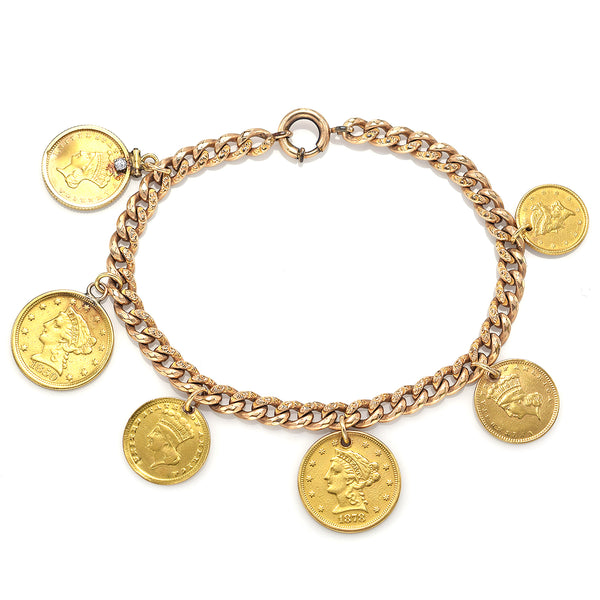 Antique 14K Gold Diamond Love Token Bracelet - US 4x $1 & 2x $2 1/2 Liberty Gold