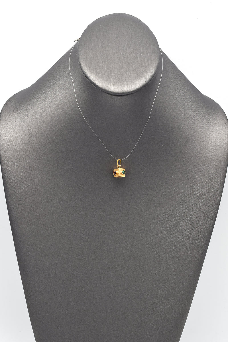 Vintage 18K Yellow Gold Paste Stone Traffic Light Charm Pendant