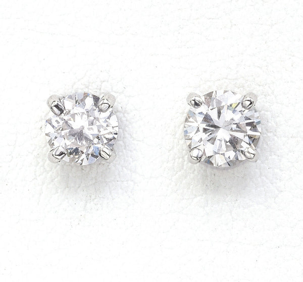Vintage 14K White Gold 0.84 TCW Diamond Round Solitaire Stud Earrings