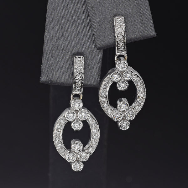 Leslie Greene 18K White Gold 0.87 TCW Diamond Dangle Earrings