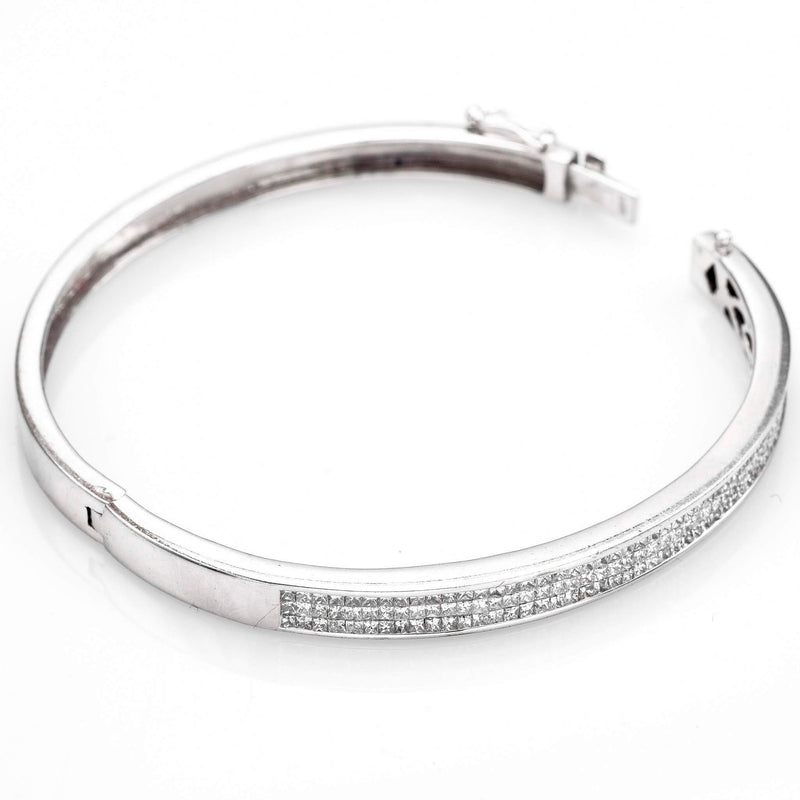 Estate 14K White Gold Diamond Hinged Bangle Bracelet