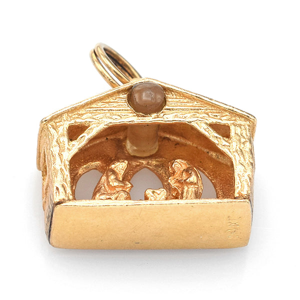 Vintage 14K Yellow Gold 3D Nativity Charm Pendant