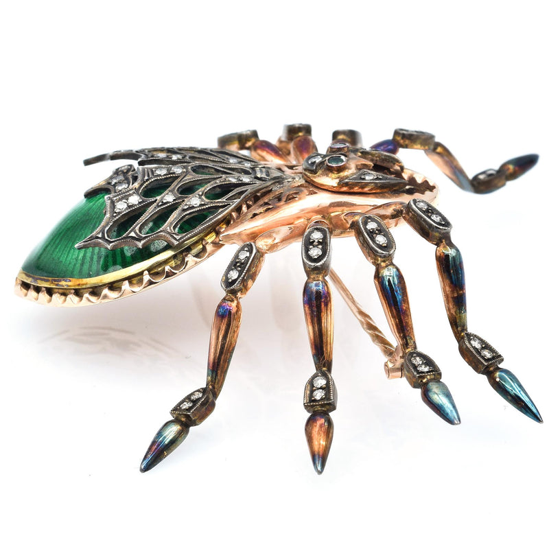 Antique Russian 14K Rose Gold Enamel Spider Brooch With Diamonds And Emeralds