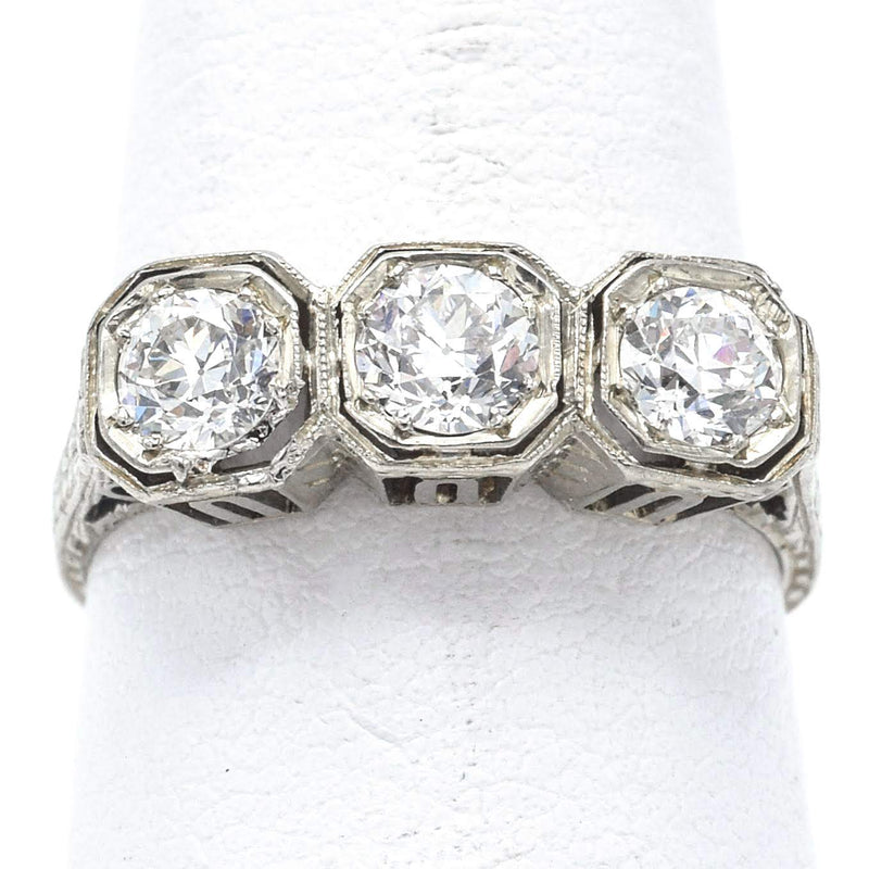 Antique 18K White Gold 0.75 TCW Old Euro Cut Diamond Band Ring