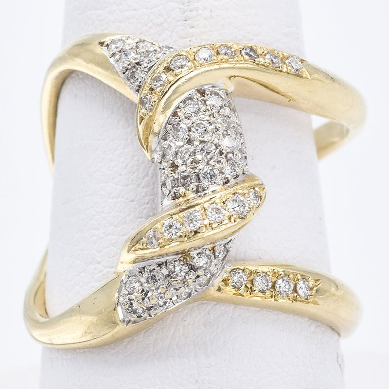 Estate 14K Yellow Gold Pave Love Knot Diamond Ring G/H SI-1