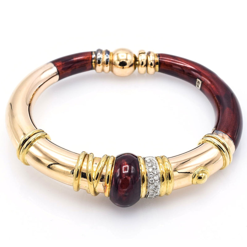 La Nouvelle Bague 18K Yellow Gold & Sterling Silver Red Enamel Diamond Bracelet