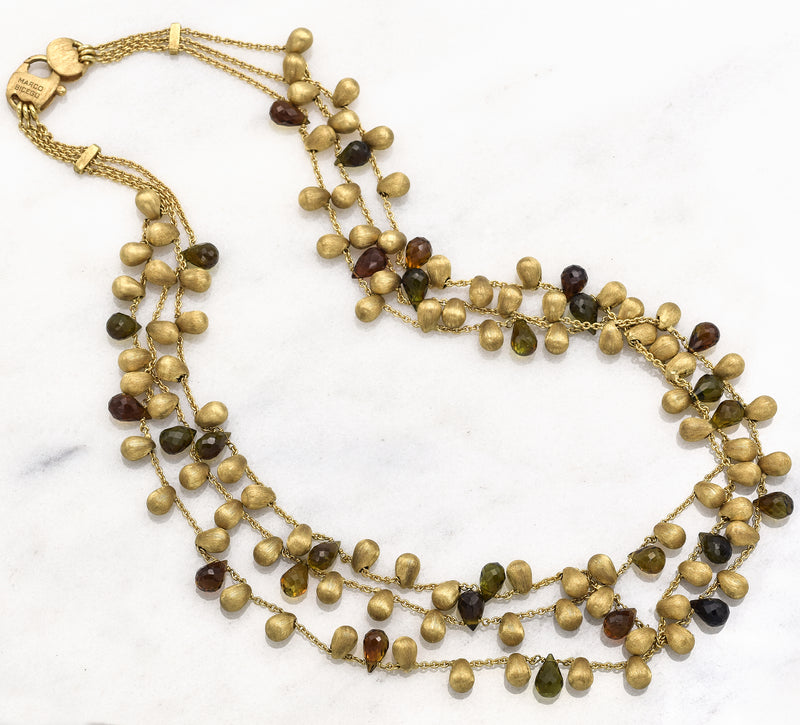 Marco Bicego 18K Yellow Gold Mixed Gemstone Multi Strand Necklace