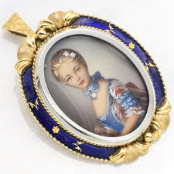 Victorian 18K Yellow Gold Enamel Diamond Hand Painted Portrait Pendant And Brooch