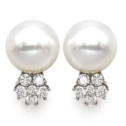 Estate 18K White Gold Akoya Pearl Diamond Cluster Omega Back Earrings