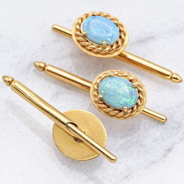 Antique 14K Yellow Gold Blue Opal Shirt Studs