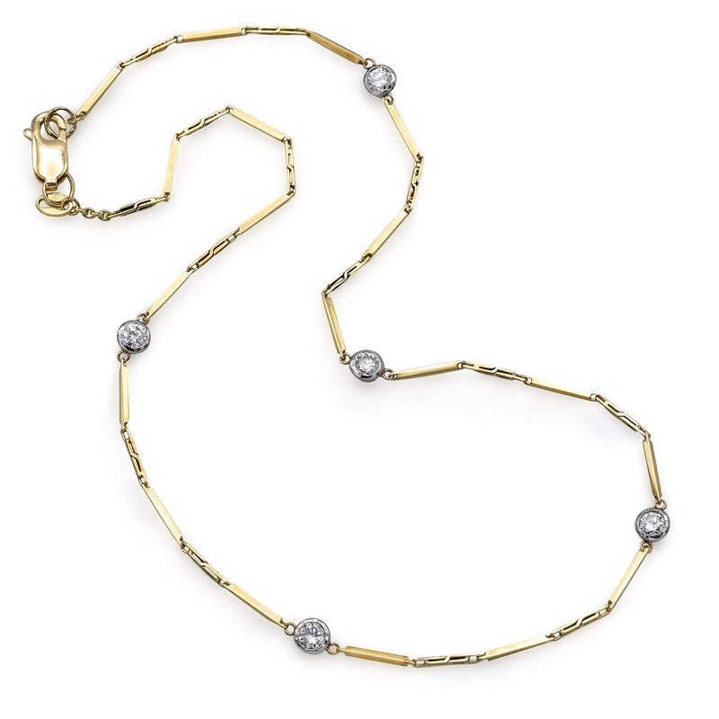 Vintage 14K Yellow Gold Diamond Station Necklace