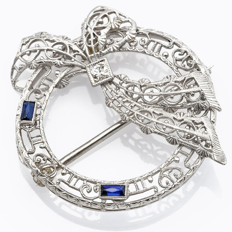 Vintage 14K White Gold Sapphire And Diamond Filigree Pin Brooch