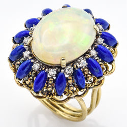 Vintage 14K Yellow Gold Opal Lapis Lazuli & Single Cut Diamond Cocktail Ring