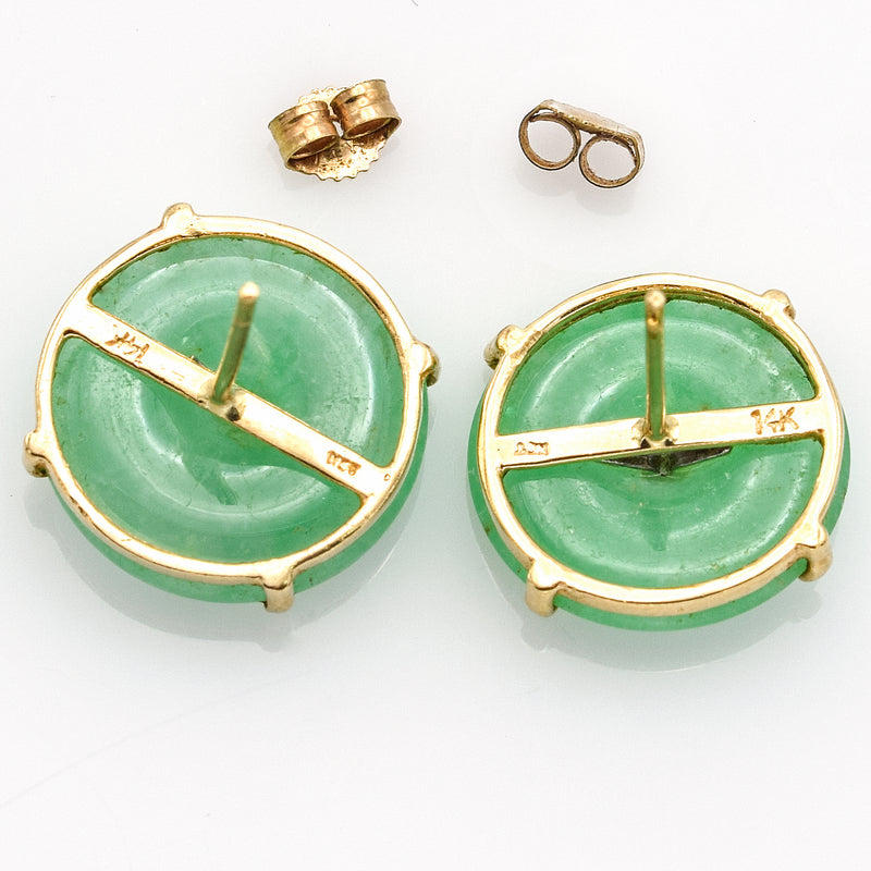 Vintage 14K Yellow Gold Round Green Jade Stud Earrings with Diamond Accent 4.0 Grams