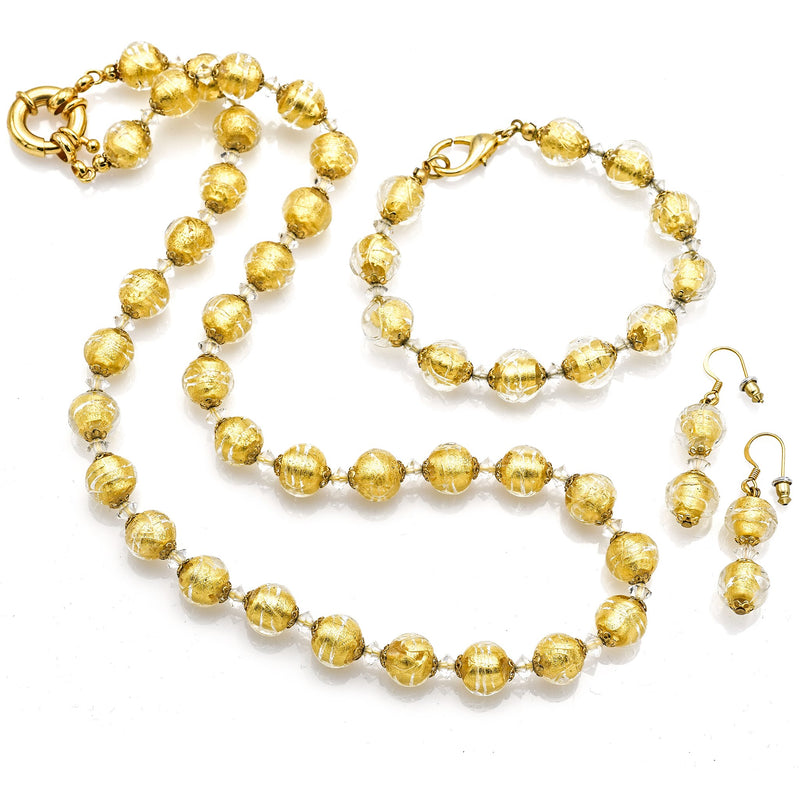 Vintage Gold Filled Venetian Glass Beaded Necklace Bracelet & Earring Set