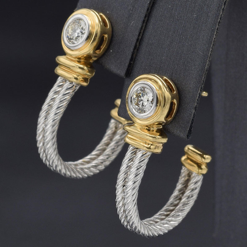 Vintage 14K White & Yellow Gold Diamond Cable Earrings