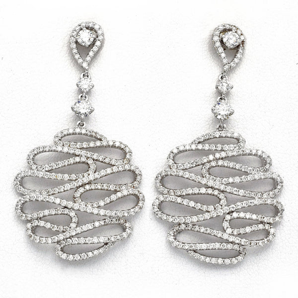 Vintage 18K White Gold Diamond Art Deco Pave Filigree Dangle Earrings