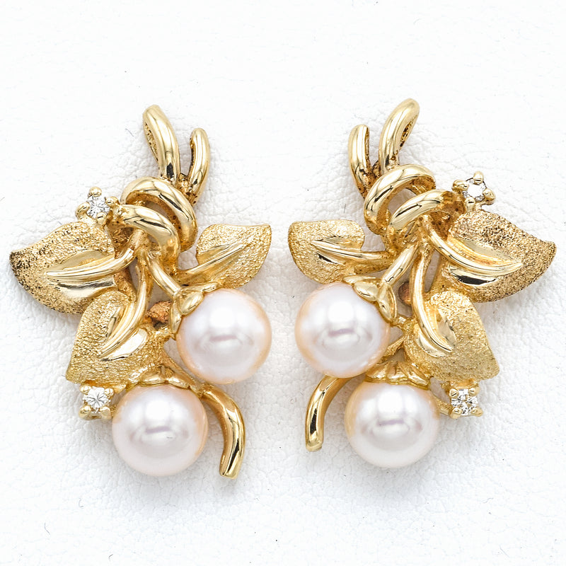 Vintage 14K Yellow Gold Sea Pearl & Diamond Screw Back Earrings 6.6 Grams I SI-1