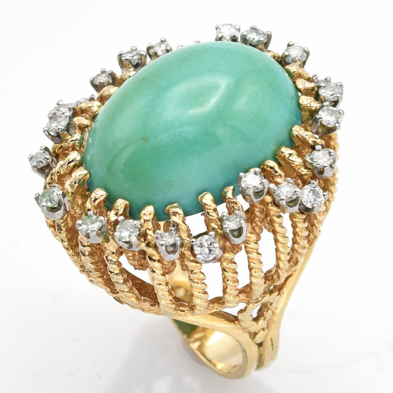 Vintage 14K Yellow Gold Green Turquoise & 0.72 TCW Diamond Filigree Cocktail Ring